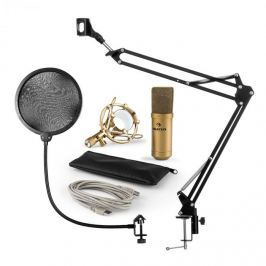 Auna MIC-900G V4, mikrofon készlet, USB kondenzátoros mikrofon, kar, pop szűrő, arany
