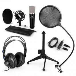 Auna auna CM003 mikrofon készlet V2, kondenzátoros mikrofon, USB-konverter, fülhallgató, mikrofon állvány