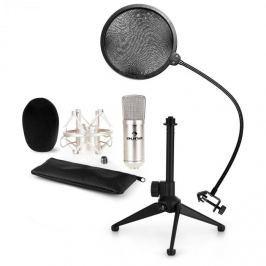 Auna auna CM001S mikrofon készlet V2 - kondenzátoros mikrofon, mikrofon állvány, pop szűrő, ezüstszínben