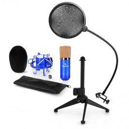 Auna auna CM001BG mikrofon készlet V2 - kondenzátoros mikrofon, mikrofon állvány, pop szűrő, kék