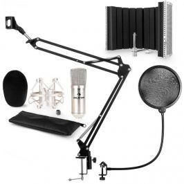 Auna CM001S mikrofon készlet V5 kondenzátoros mikrofon, mikrofonkar, pop szűrő, panel, ezüst