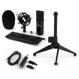 Auna auna CM001B mikrofon készlet V1, kondenzátoros mikrofon, USB-adapter, mikrofon állvány, fekete