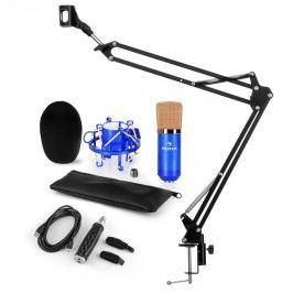 Auna CM001BG mikrofon készlet V3, kondenzátoros mikrofon, USB-adapter, mikrofonkar, kék