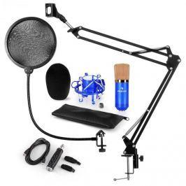 Auna CM001BG mikrofon készlet V4, kondenzátoros mikrofon, USB-adapter, mikrofonkar, pop szűrő, kék