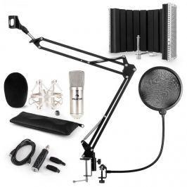 Auna CM001S mikrofon készlet V5, kondenzátoros mikrofon, USB-adapter, mikrofonkar, pop szűrő, panel, ezüst