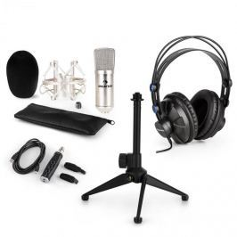 Auna auna CM001S V1 mikrofon szett, fejhallgató, kondenzátor mikrofon, USB adapter, állvány, ezüst