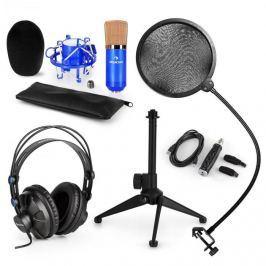 Auna auna CM001BG V2 mikrofon szett, fejhallgató, kondenzátor mikrofon, USB adapter, állvány, pop filter, kék