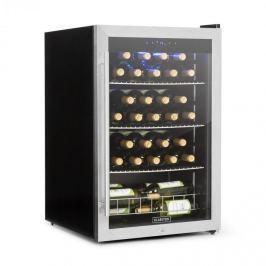 Klarstein Falcon Crest ital hűtőszekrény, üvegajtó, 4-18°C, 128l, zár, 42dB, nemesacél