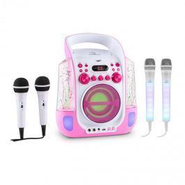 Auna Kara Liquida karaoke rendszer, rózsaszín + Dazzl karaoke mikrofon készlet, LED megvilágítás