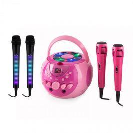 Auna SingSing karaoke rendszer, rózsaszín + Dazzl mikrofon szett, LED megvilágítás