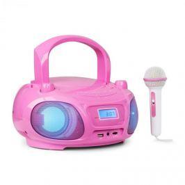 Auna Roadie Sing boombox, FM rádió, fény show, CD-lejátszó, mikrofon, rózsaszín