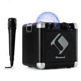 Auna BC-10 karaoke rendszer, LED fény, bluetooth, akkumulátor, USB, AUX-IN, fekete