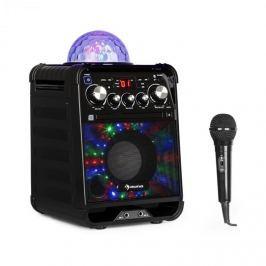 Auna Rockstar LED karaoke rendszer, CD-lejátszó, bluetooth, USB, AUX, 2 x 6,3 mm, fekete