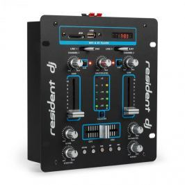Resident DJ DJ-25 DJ-mixer keverő pult, erősítő, bluetooth, USB, fekete/kék