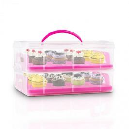 Klarstein USS Pink Cookie, rózsaszín, süteményhordozó doboz 2 emelettel, 2 ráccsal és fogantyúval