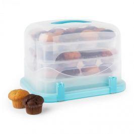Klarstein Blaukäppchen XL, kék, süteményes doboz, muffin tartó, 36 db, 34,5 x 25 x 25,5 cm