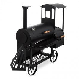 Klarstein Dampflok, fekete, grillsütő füstölővel, 3 mm-es acél