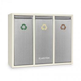 Klarstein Ordnungshütter 3 szemetesláda, szelektív hulladékgyűjtő, 45 l (3 x 15 l), krémszínű