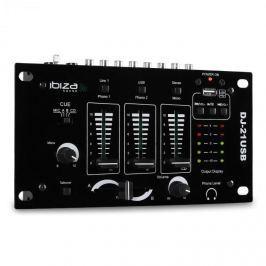 3/2-utas mixpult Ibiza DJ-21, USB, talkover, party