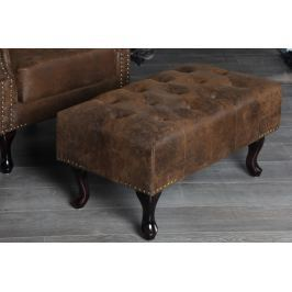 Ülőke CHESTERFIELD STOOL VINTAGE  antik look - barna