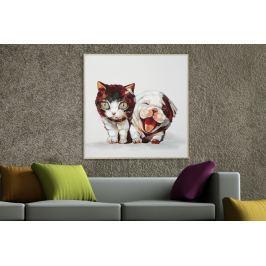 Kép KUTYA és MACSKA POP ART 50x50 cm - olajfestmény