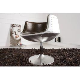 Fotel KOMBO - ezüst/barna