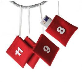 Adventný kalendár, BALÍČKY, 24 ks - červená
