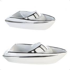Szobrocska jacht JET, 26 cm - fehér