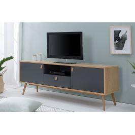 TV stolík GLOBUS 150 cm - prírodná, antracitová