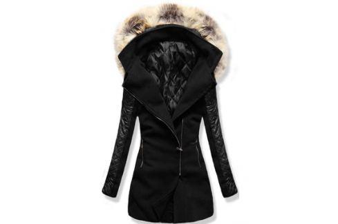 Női hosszú kabát kapucnival 6710 fekete - Shopti.hu 1f26963273
